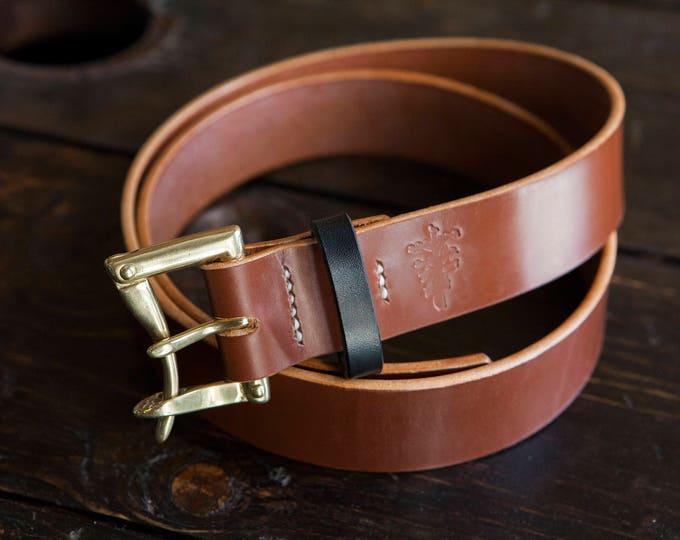 "Super Limited 1.5"" Hazel Sedgwick Bridle Quick Release Belt with Brass Hardware and Burnished Black Bridle Keeper"