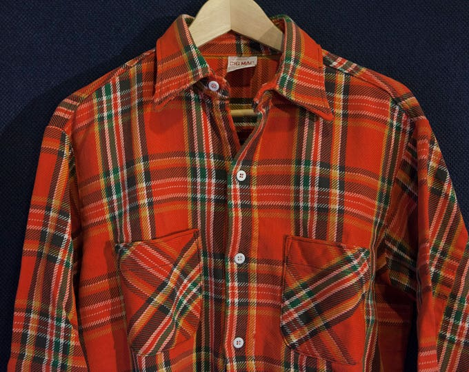 Vintage Big Mac Flannel Red Black and Green Plaid Union Made in USA Size Large
