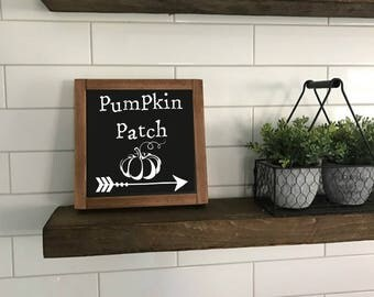 Sign Pumpkin Patch ArrowFall Autumn Wood sign home decor rustic distressed fall decor, Autumn decor chalkboard style #302