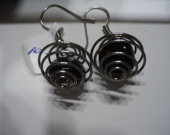 Apache Tear Earrings in Silver Tone Cage (1137)