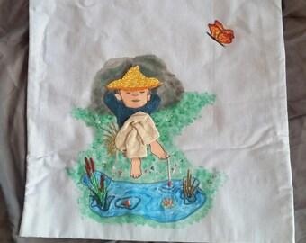 Decorative pillow - unique - lying fisherman