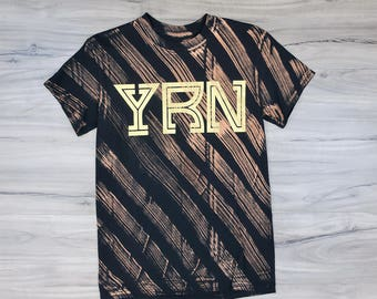 YRN Striped Bleached T-Shirt (Gold Print)