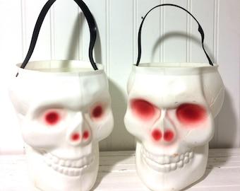 Vintage Late 1970's Empire Blowmold Skull Pail/Bucket