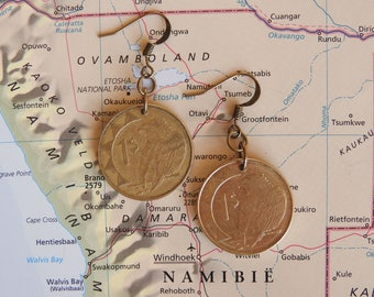 Namibian coin earrings - bird - made of coins from Namibia - wanderlust - Africa - travelgift -