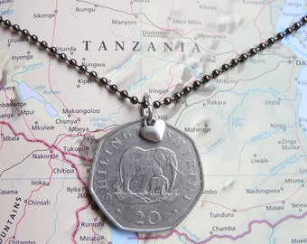 Tanzanian coin necklace/keychain - 2 different designs - made of original coins from Tanzania - elephant - Africa