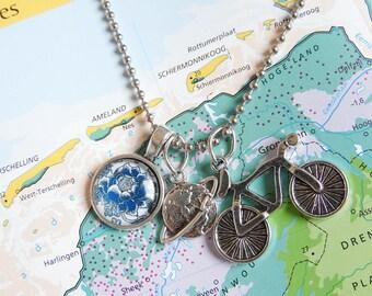 Delfts blauw big flower ketting  6 keuzes  Made in  Holland collectie