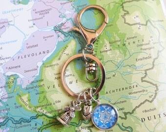 Delfts blauw sleutelhanger  6 keuzes  mandala Made in  Holland collectie