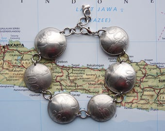 Indonesia bird coin bracelet - curved - made of original coins - bird jewelry