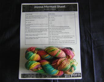 Joyous Mermaid Shawl Kit with Sparkle Collection Lace Weight Silk Cloud Yarn
