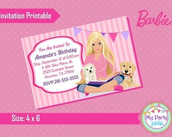 Barbie Birthday Party Invitation - Printable