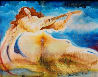 Mother Earth playing lute print, Instrument print, Lute print, Lute player, Mother, Woman, Nature, Art print from original oil painting