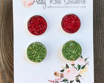 12mm druzy earrings, druzy studs, druzy earrings, red druzy earrings, Christmas druzy earrings