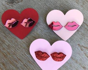 Valentines Day earrings, lip earrings, pink lips, red lips, lipsence gift