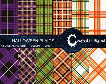 Halloween Plaids/Tartans - Digital Paper Collection 12x12