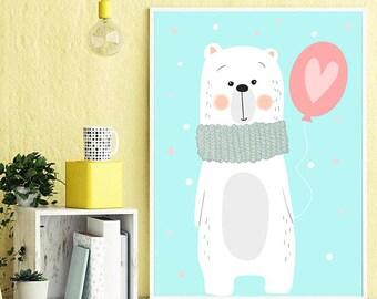 Nursery Wall Art Print, Kids Art Print, Animal Nursery Print, Instant Download Printable Kids, Nursery Art Printable, Modern Nursery Decor