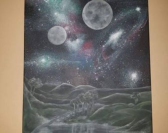 """Original hand painted canvas - Two Moons - 24x18"""""""