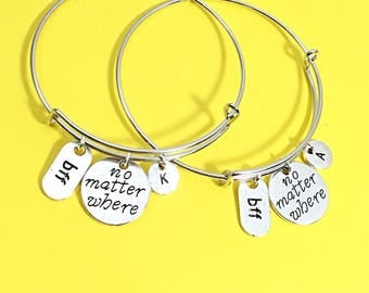 Friendship long distance gifts, Bracelet Gift,Best Friend Gift, Friendship Bangle Bracelets,No matter where, distance charm bracelet