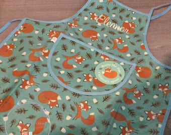 Personalised Fox Apron, painting , baking, waterproof, personalized apron