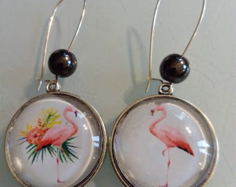 Earring dangle cabochon pattern vintage Flamingo Pink Blue and pink, Pearl black