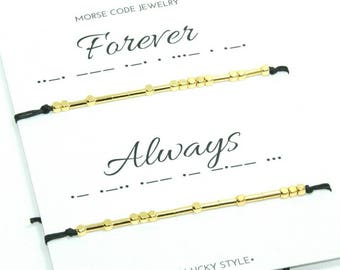 Always Forever Morse Code bracelets Couple Always Forever  Matching Couples Bracelet His  Hers Matching Bracelet Valentines gift for him