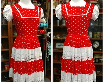 Clearance *** Perfect Vintage Kate Schorer Red and White Polka Dot Dress