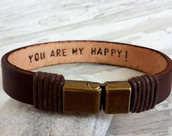 Personalized Leather Men Bracelet, Bronze Clasp Bracelet, Women Men Bracelet, Hidden Message Bracelet Secret Word, Engraved Leather Bracelet