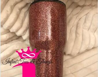 Stainless Steel Glitter Tumbler, Rose Gold Glitter Tumbler, Bling Tumblers