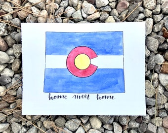 Colorado State Flag. Handlettered. Watercolor Art.