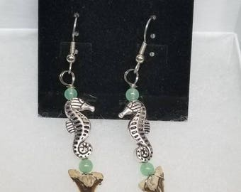 Lovely Seahorse & Aventurine Fossil Snaggle Shark Tooth Earrings