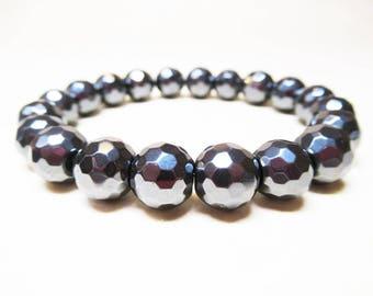 Hematite Bracelet Energy Bracelet Protection Bracelet Spiritual Bracelet Root Chakra Bracelet Mens Bracelet 10mm Faceted Hematite