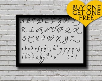 Cross Stitch Pattern Elven Common Speak Font Embroidery Decor ABC PDF Pattern Letters E Pattern Alphabet Scheme Text Cross Stitch