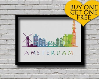 Cross Stitch Pattern Amsterdam Netherlands Europe City Silhouette Watercolor Effect Decor Embroidery Rainbow Color Skyline xstitch