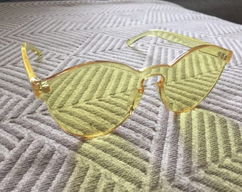 Yellow Laser Cut Frameless Sunglasses