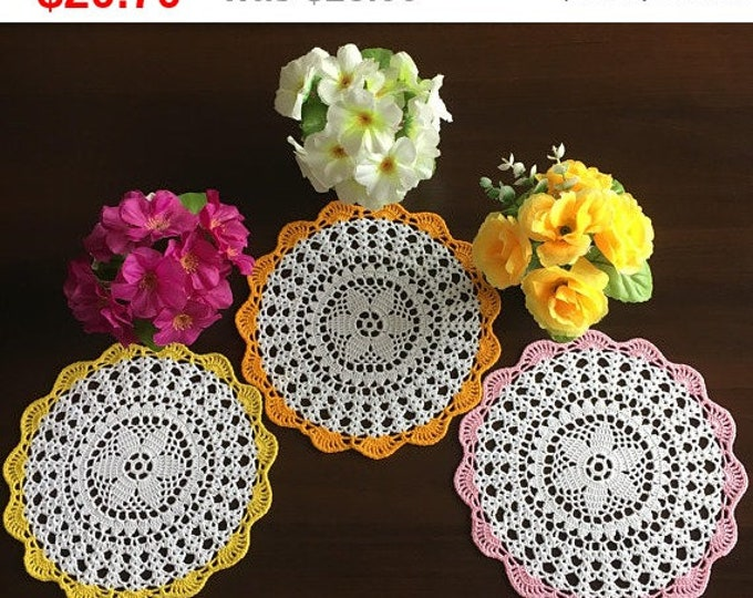 small wipes, crochet doily, set 3 napkins, rustic doily, lace doily, crochet small, table topper, doily dolls, crochet round dolls, flower.