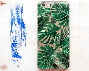Clear iPhone 7 Case Tropical Leaves iPhone 6 Case iPhone Cover 7 Plus iPhone SE Case Clear Tropic Case for Samsung S8 Samsung S8 Cover 0138