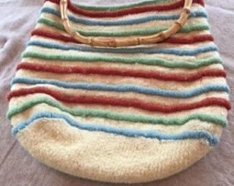 Hand made knitted and felted tote bag or purse  PT104