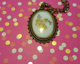 Gold Flower Cameo Necklace