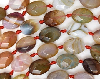 """14mm faceted multicolor agate flat oval beads 15.5"""" strand 38340"""