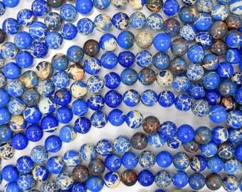 "6mm sapphire blue sea sediment jasper round beads 15.5"" strand 38441"