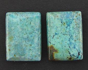 25mm chrysocolla rectangle pendant 2 beads 4180