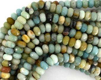 "10mm faceted amazonite rondelle beads 15.5"" strand 39182"