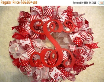 PRE-LABOR DAY Sale Candy Cane Wreath, Christmas Marquee Wreath, Marquee Wreath, Winter Wreath, Candy Cane, Christmas decor, Peppermint Wreat