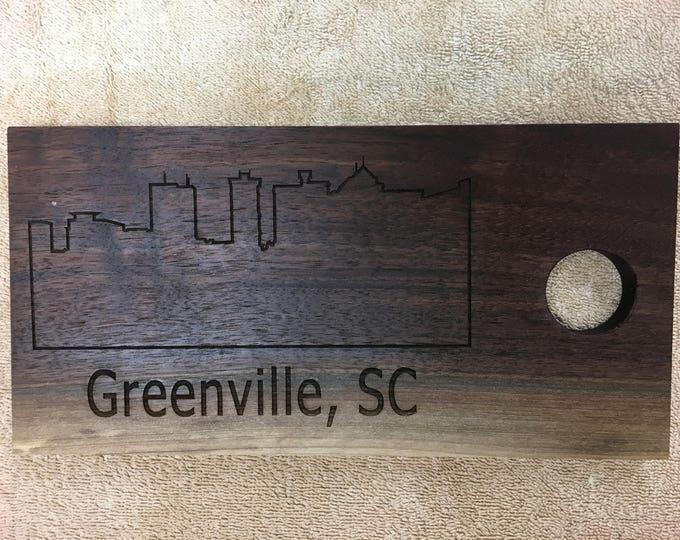 Laser Engraved Greenville Skyline Walnut Cutting Board