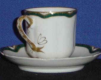 Haviland Demitasse Cup and Saucer with Dark Green and Gold Trim (MV)
