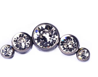 Clear CZ Crystal Cluster - 5 Stones - labret post included