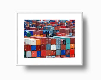 Colorful Containers Print, Travel Containers print, Abstract Containers, Minimalist Shipping Port, Shipping Dock, Instant Download Print,