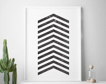 Black white affiche scandinavian print, nordic design, minimalist art, chevron printable art