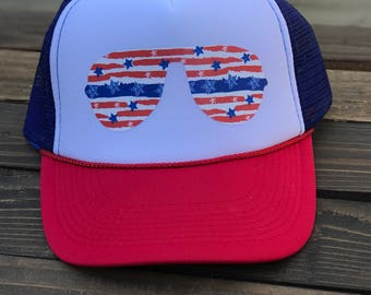 Stars and Stipes Glasses Trucker Hat. Red,White and Blue Trucker Hat, Fourth Of July Hat, 4th of July, Sunglasses Hat