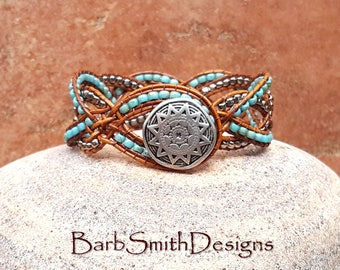 """ON SALE!  Turquoise Beaded Bracelet-Beaded Leather Wrap-Turquoise Silver-Leather Twist-Size 6 3/8""""-The Double Duchess in Turquoise Blue"""