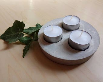 Concrete tea candle holder